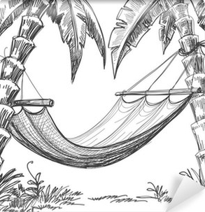 wall-murals-hammock-and-palm-trees-drawing